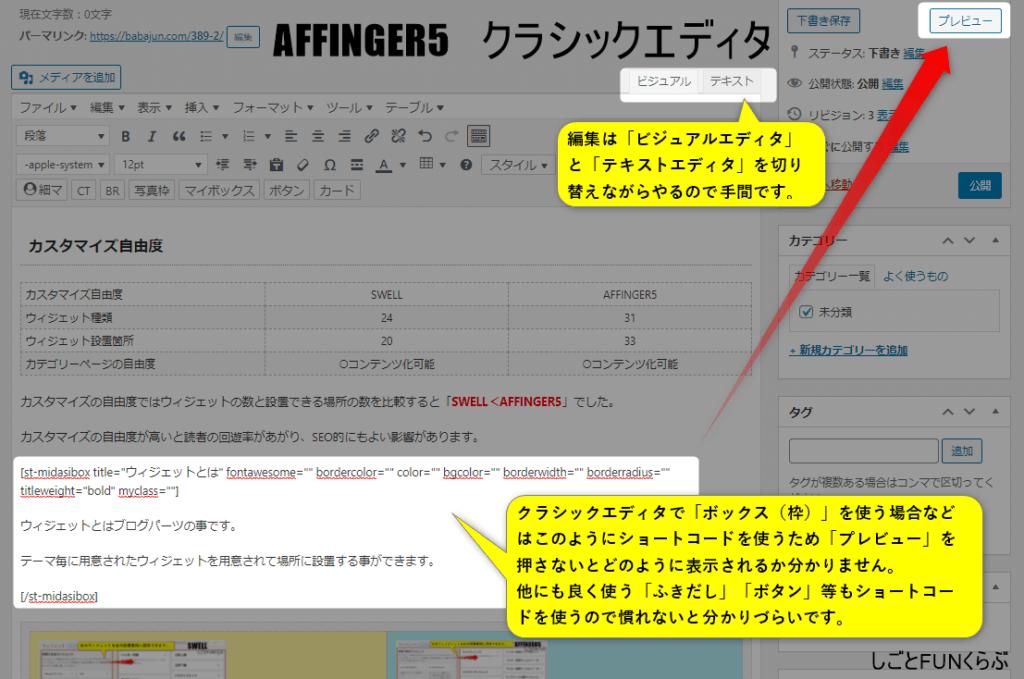 クラシックエディタの編集画面(AFFINGER5)